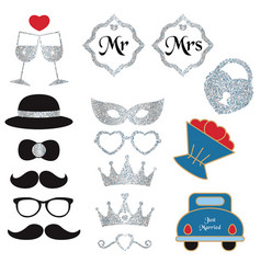 Collection of wedding objects collection vector