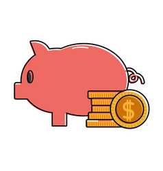 Color piggy to save money and coins cash currency vector