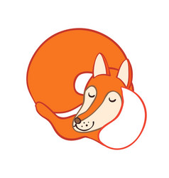 Cute cartoon sleeping fox vector