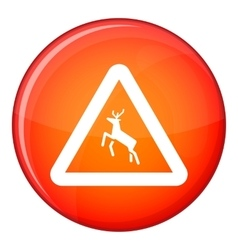 Deer traffic warning sign icon flat style vector