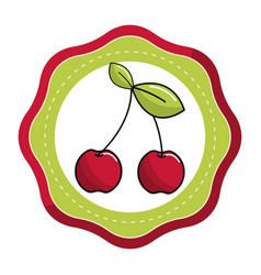 emblem sticker cherry fruit icon stock vector image vector image