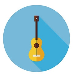 Flat acoustic string guitar circle icon with long vector