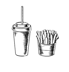French fries and cold soda drink sketches vector