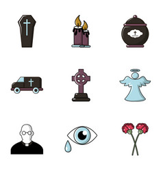 Funeral symbols icons set flat style vector