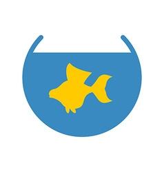 Goldfish in an aquarium icon Yellow fish fulfills vector image