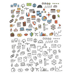 Hand drawn icons and elements pattern vector