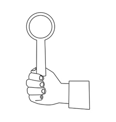 Hand holding stop sign icon in outline style vector