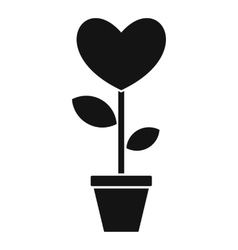 Heart flower in a pot icon simple style vector