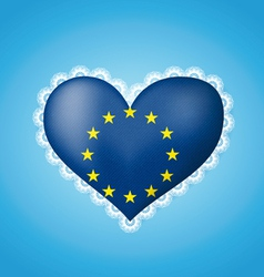 Heart shape flag of EU vector image vector image