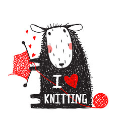 i love knitting sheep print with sign vector image