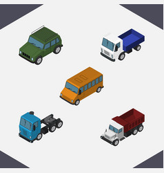 Isometric transport set of autobus freight lorry vector
