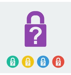 lock flat circle icon vector image vector image