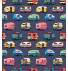 Mid fifties cartoonish campers pattern vector image vector image