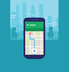 mobile phone navigation map into city screen smart vector image vector image