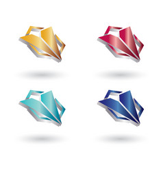 polygon triangle glossy 3d logo vector image
