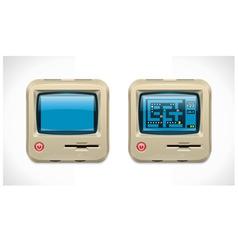 retro computer square icon vector image vector image
