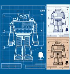 Robot blueprint cartoon vector