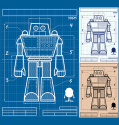 robot blueprint cartoon vector image