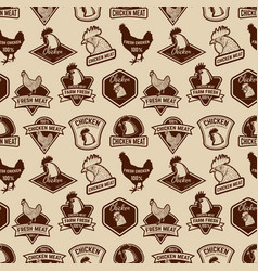 Seamless pattern with chicken meat labels pattern vector