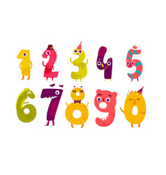 set of cute number characters math symbols vector image