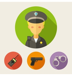 Set of flat style icons Policeman radio set gun vector image vector image
