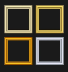 Set picture frames isolated on black background - vector