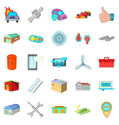 Shed icons set cartoon style vector
