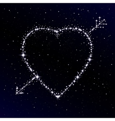 Starry heart pierced with arrow vector