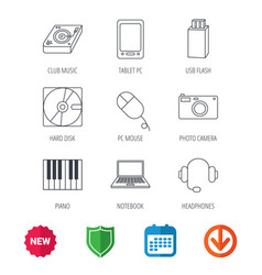 Tablet pc usb flash and notebook laptop icons vector