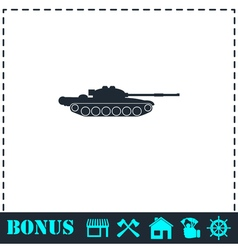 Tank army icon flat vector