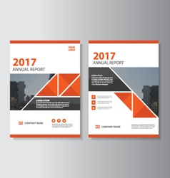 Triangle red annual report leaflet brochure vector