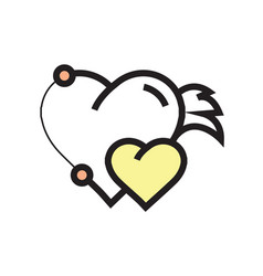 Twins hearts wings pen tool design yellow vector