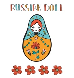 Colorful card with cute russian doll vector image