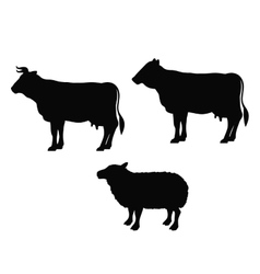 Isolated lamb cow and beet animal design vector
