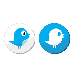 Social media blue bird labels vector