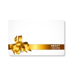 Gift card with gold bow and ribbon merry christmas vector