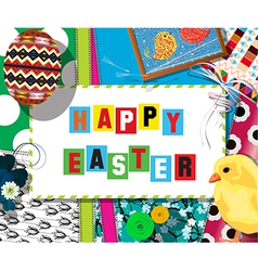 Easter cellebration collage card vector image