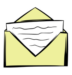 Letter in envelope icon cartoon vector
