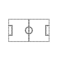 Soccer field black dashed icon on white vector