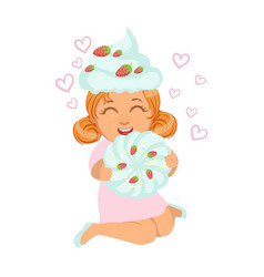 small girl sitting and laughing in a marshmallow vector image