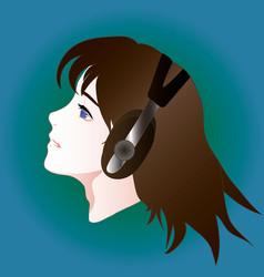 Anime style portrait of girl in headphones vector