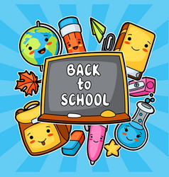 Back to school kawaii design with cute education vector