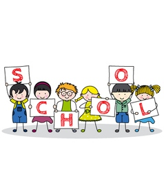 Children with school posters vector
