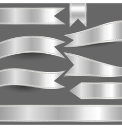 Set of silver ribbons vector