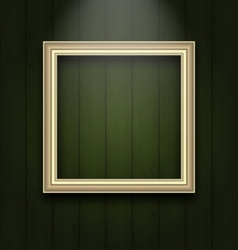 Vintage picture frame on wooden wall - vector