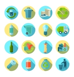 Waste sorting round icons set vector