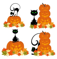 Set of Halloween Greeting Cards vector image
