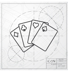 Game cards icon vector