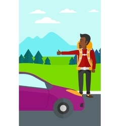 Young man hitchhiking vector