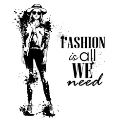 Trendy look girl with splashes vector